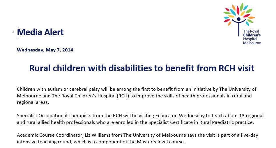 RCH media release